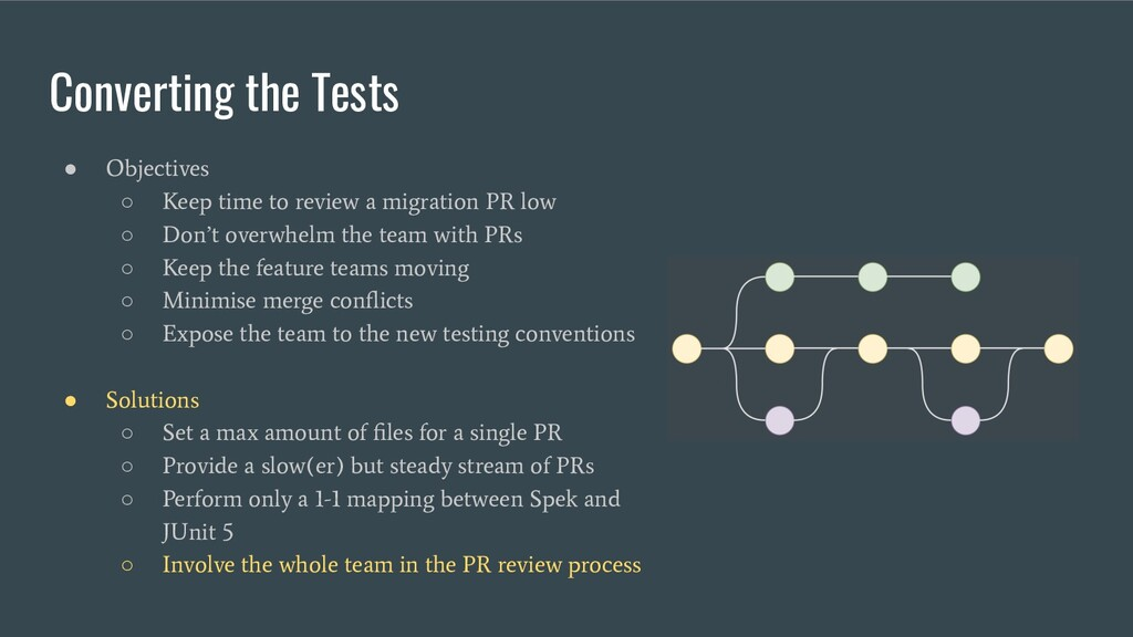 Converting the Tests ● Objectives ○ Keep time t...