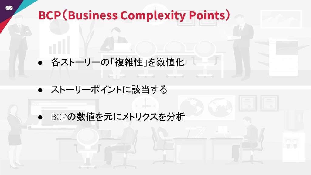 ● 各ストーリーの「複雑性」を数値化 ● ストーリーポイントに該当する ● BCPの数値を元に...