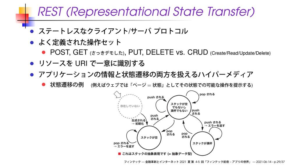 REST (Representational State Transfer) / POST, ...