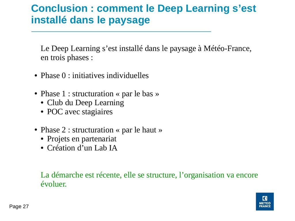 Page 27 Conclusion : comment le Deep Learning s...