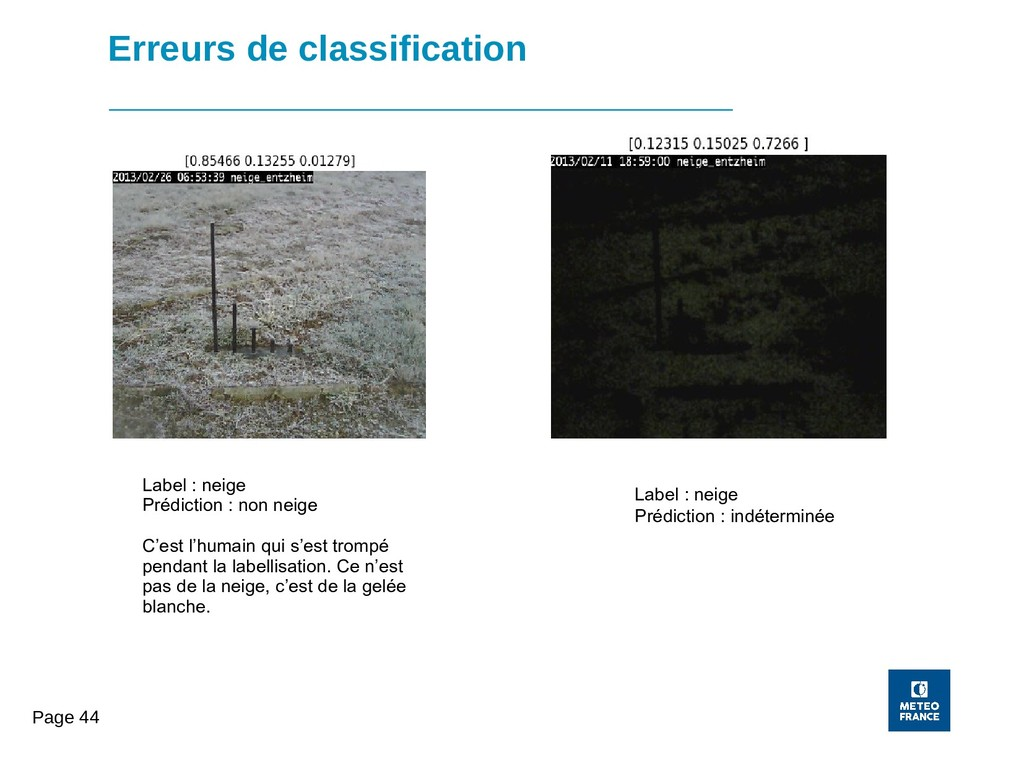 Page 44 Erreurs de classification Label : neige...