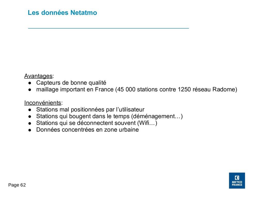Page 62 Les données Netatmo Avantages: ● Capteu...