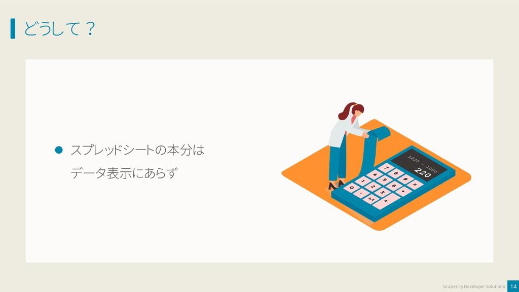 どうして ? 14 GrapeCity Developer Solutions ⚫ スプレッド...