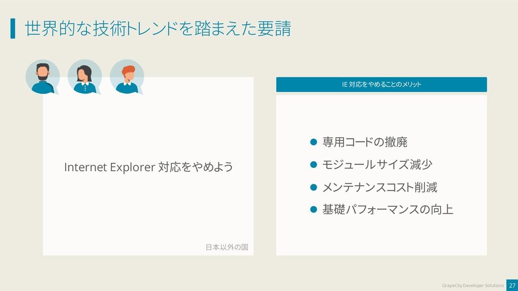 Internet Explorer 対応をやめよう 世界的な技術トレンドを踏まえた要請 27 ...