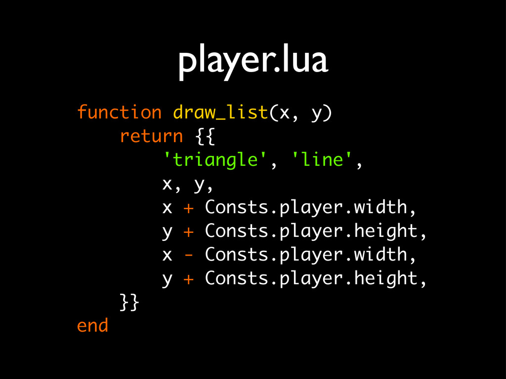 player.lua function draw_list(x, y) return {{ '...