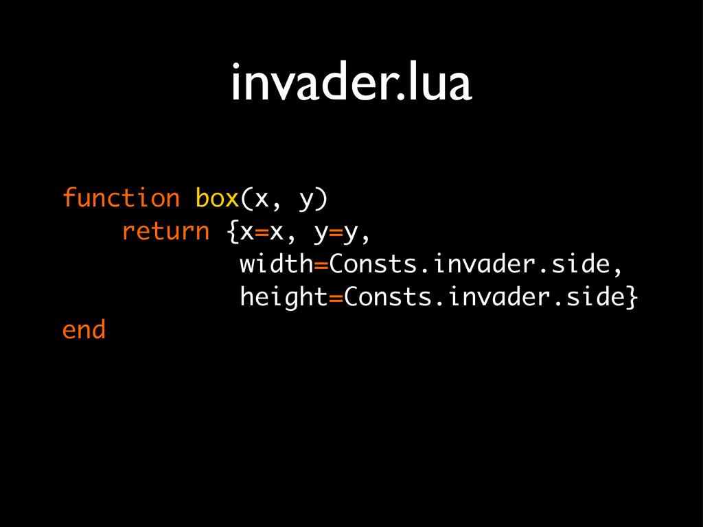 invader.lua function box(x, y) return {x=x, y=y...