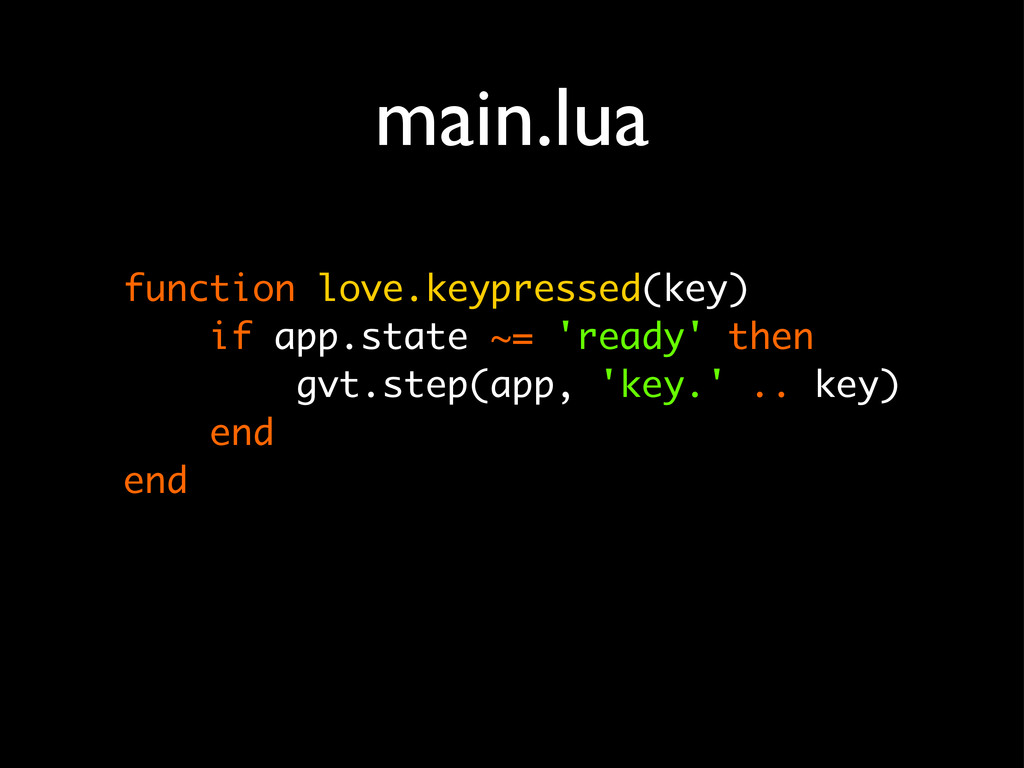 function love.keypressed(key) if app.state ~= '...