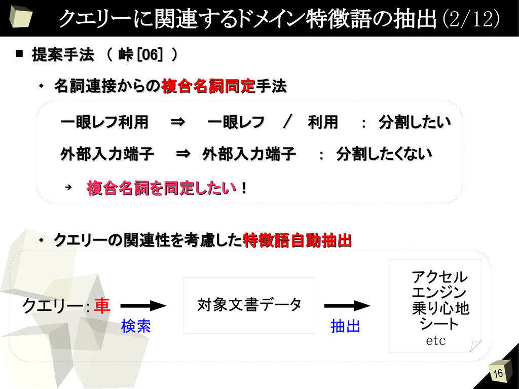 16 クエリーに関連するドメイン特徴語の抽出 (2/12) ■ 提案手法 ( 峠 提案手法 (...
