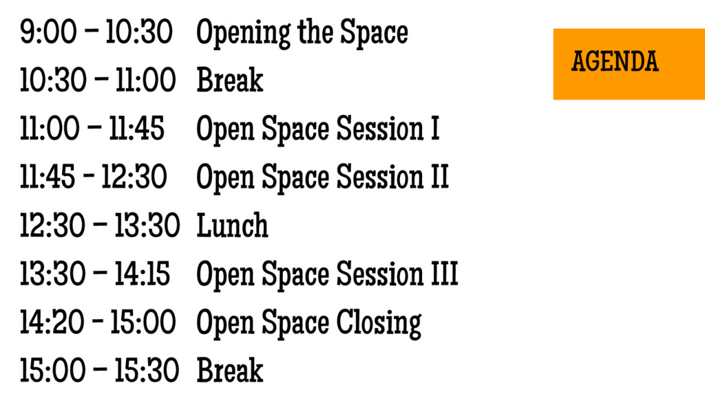 9:00 – 10:30 Opening the Space 10:30 – 11:00 Br...