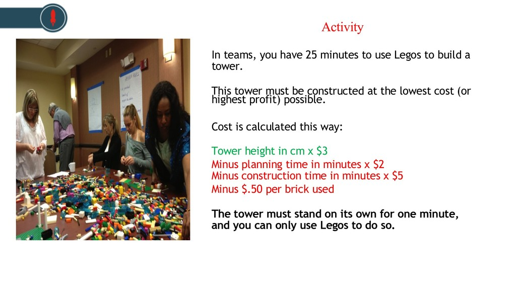 In teams, you have 25 minutes to use Legos to b...