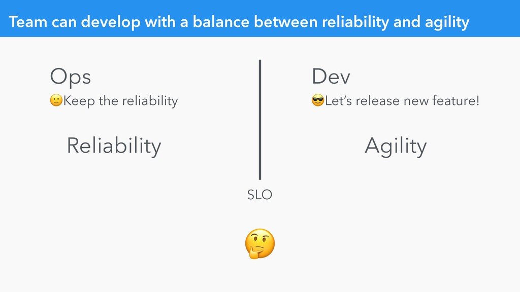 Team can develop with a balance between reliabi...