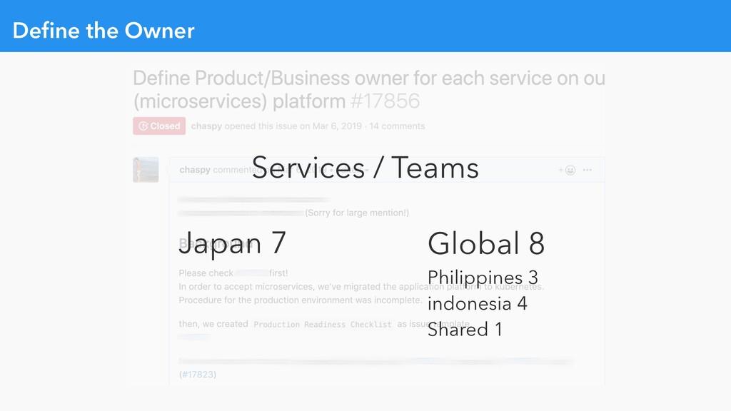 Define the Owner Services / Teams Japan 7 Global...