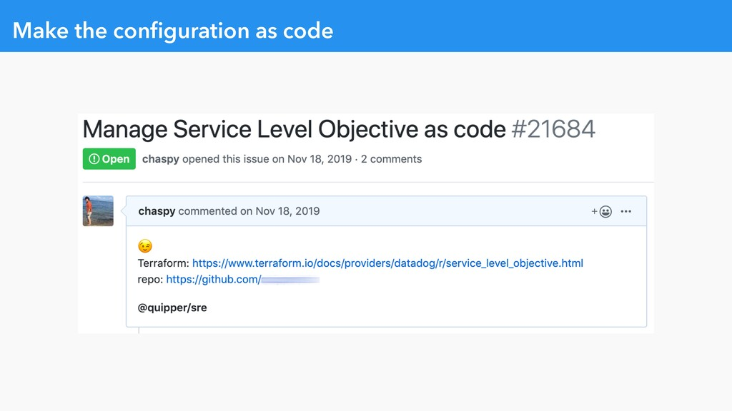 Make the configuration as code