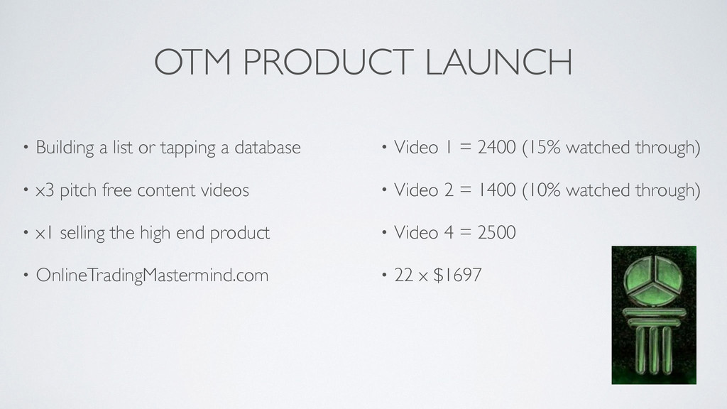 OTM PRODUCT LAUNCH • Building a list or tapping...