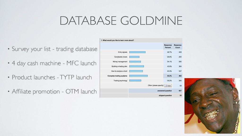 DATABASE GOLDMINE • Survey your list - trading ...