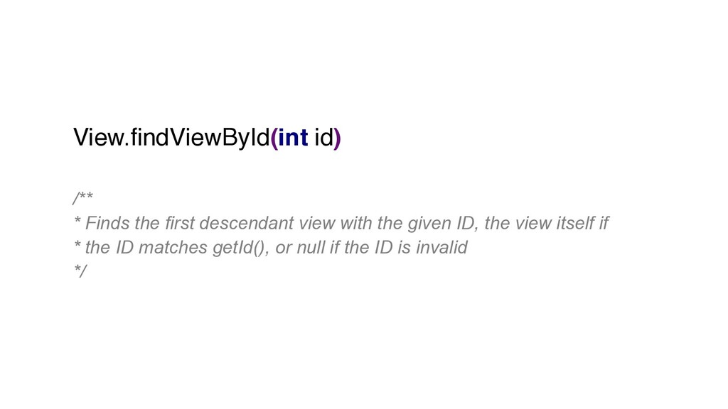 View.findViewById(int id) /** * Finds the first...