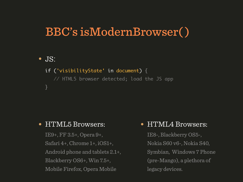 BBC's isModernBrowser( ) • JS: