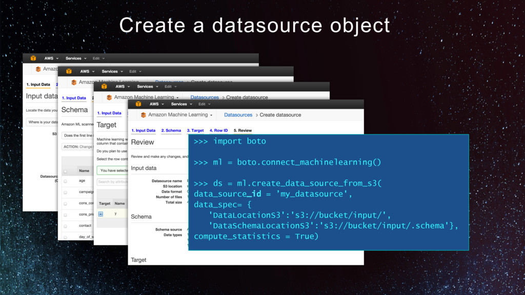 Create a datasource object >>> import boto >>> ...
