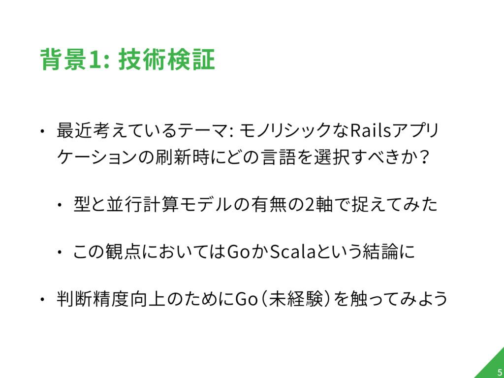 背景1: 技術検証 • 最近考えているテーマ: モノリシックなRailsアプリ ケーションの刷...