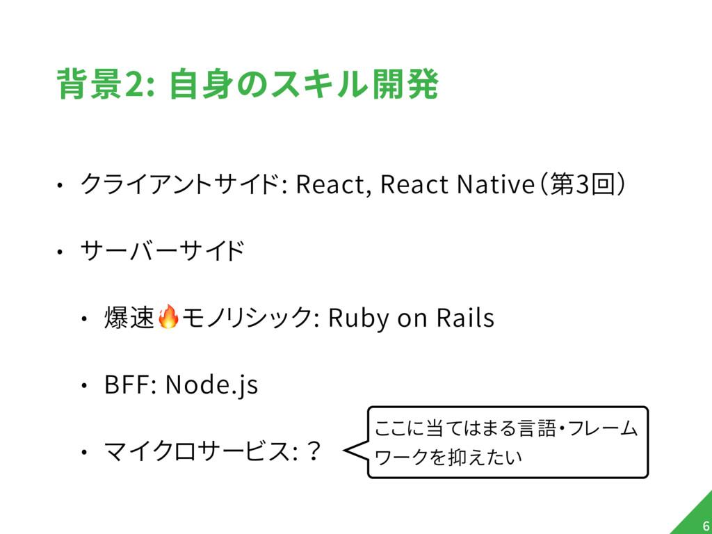 背景2: 自身のスキル開発 • クライアントサイド: React, React Native(...