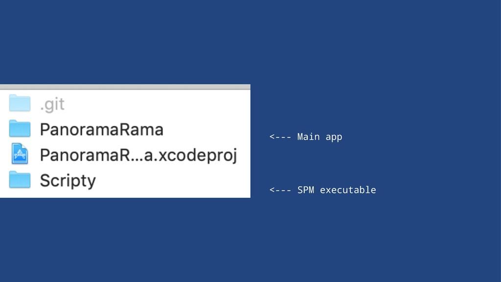 <--- Main app <--- SPM executable