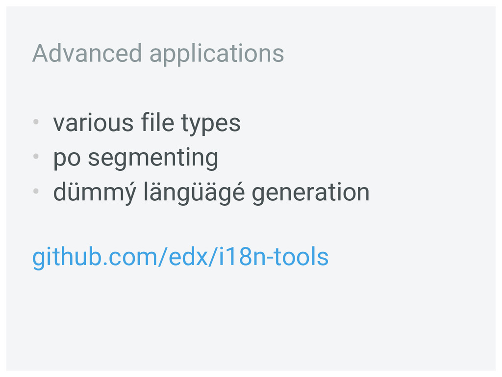 • various file types • po segmenting • dümmý lä...