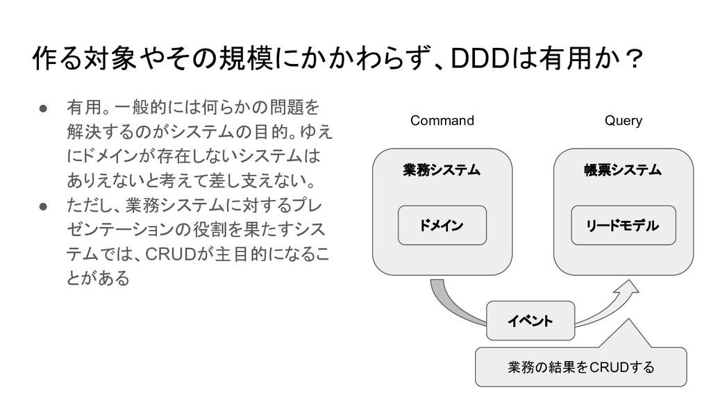 作る対象やその規模にかかわらず、DDDは有用か? ● 有用。一般的には何らかの問題を 解決する...