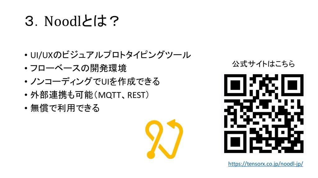 3.Noodlとは? • UI/UXのビジュアルプロトタイピングツール • フローベースの開発...