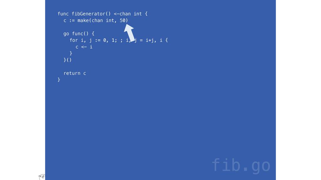 func fibGenerator() <-chan int { c := make(chan...