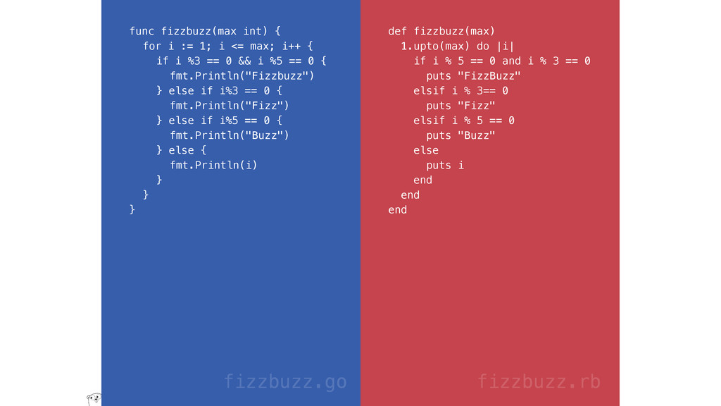 func fizzbuzz(max int) { for i := 1; i <= max; ...