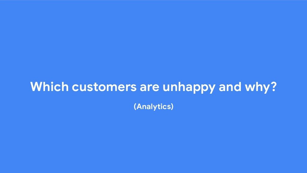 Which customers are unhappy and why? (Analytics)