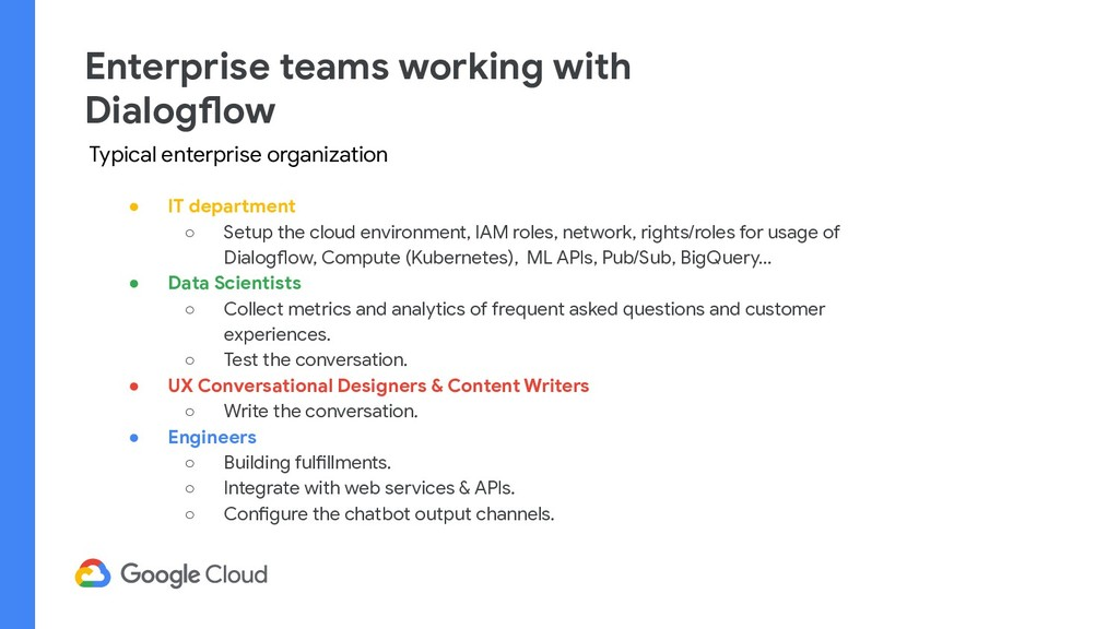 Enterprise teams working with Dialogflow ● IT d...