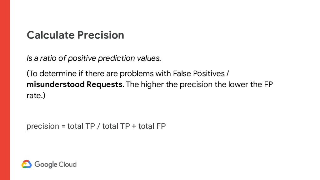 Calculate Precision Is a ratio of positive pred...