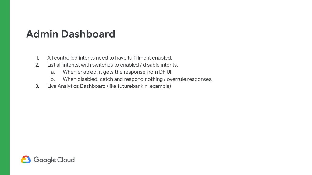 Admin Dashboard 1. All controlled intents need ...