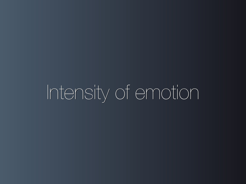 Intensity of emotion