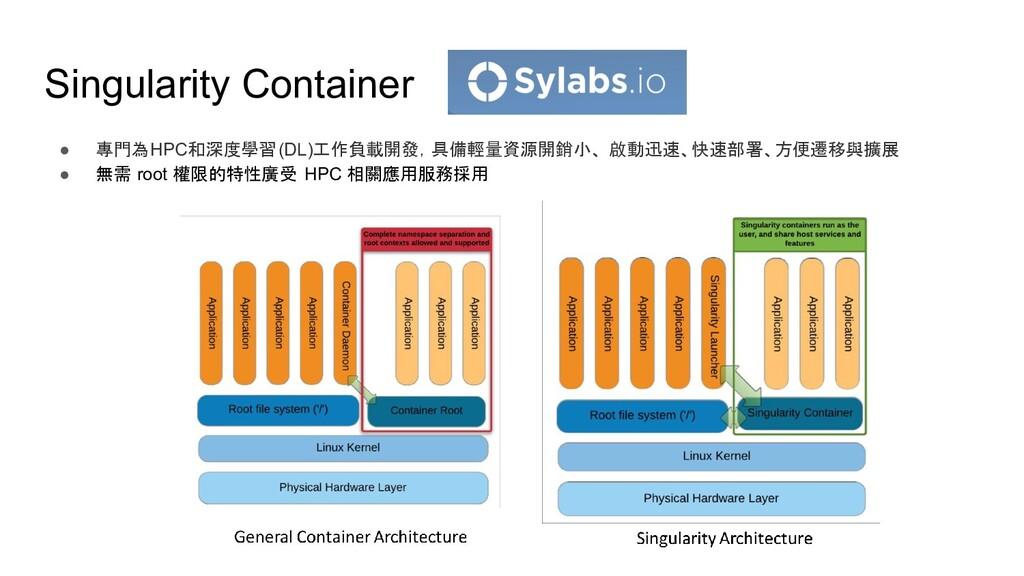 Singularity Container ● 專門為HPC和深度學習(DL)工作負載開發,具...