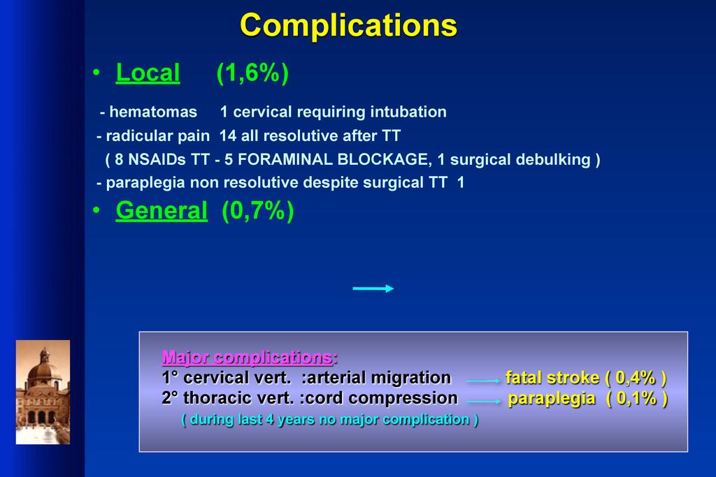 Complications • Local (1,6%) - hematomas 1 cerv...