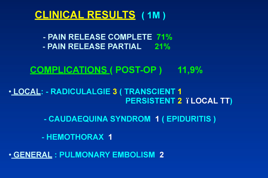 CLINICAL RESULTS ( 1M ) - PAIN RELEASE COMPLETE...
