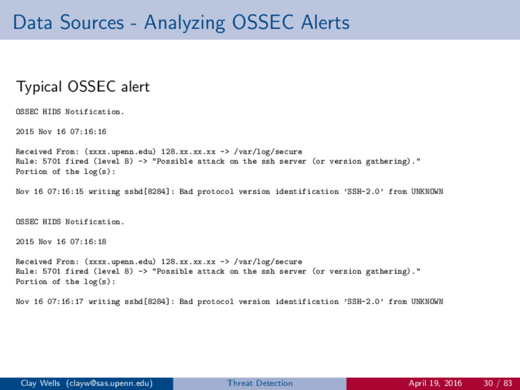 Data Sources - Analyzing OSSEC Alerts Typical O...