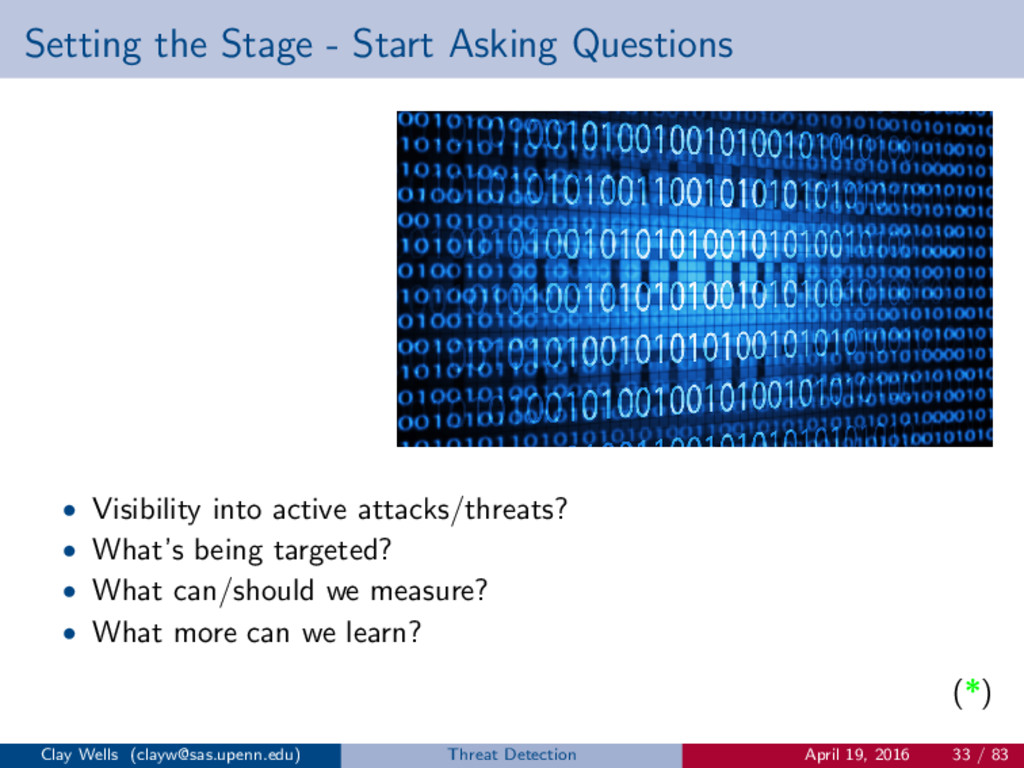 Setting the Stage - Start Asking Questions • Vi...