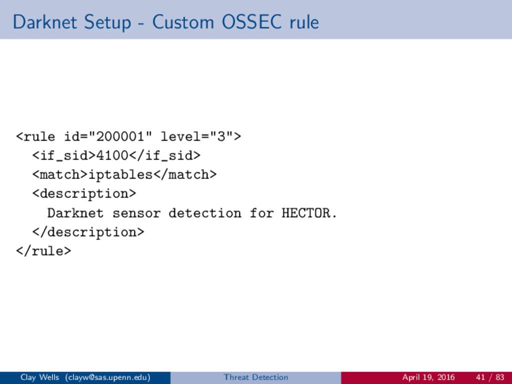 "Darknet Setup - Custom OSSEC rule <rule id=""200..."