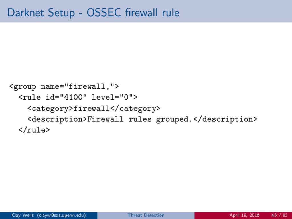 Darknet Setup - OSSEC firewall rule <group name=...