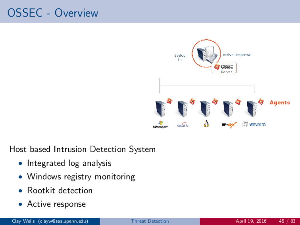 OSSEC - Overview Host based Intrusion Detection...