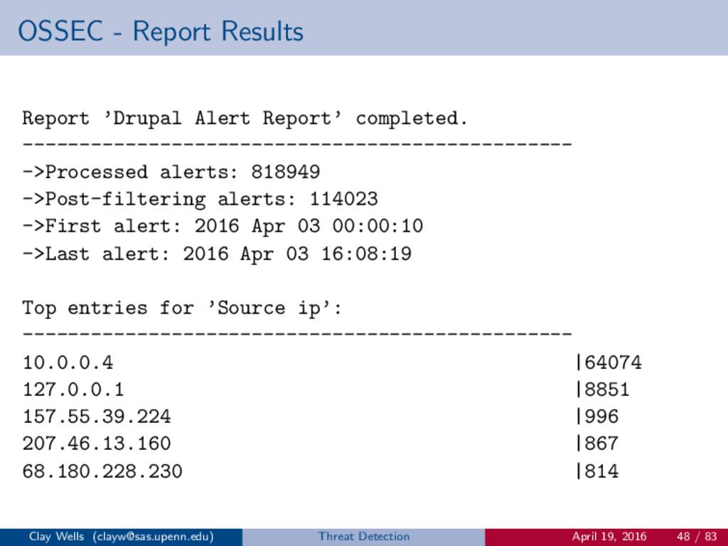 OSSEC - Report Results Report 'Drupal Alert Rep...