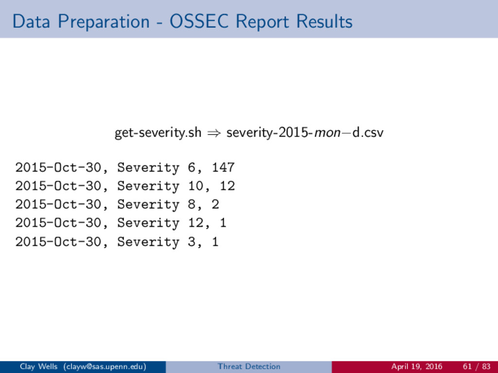 Data Preparation - OSSEC Report Results get-sev...