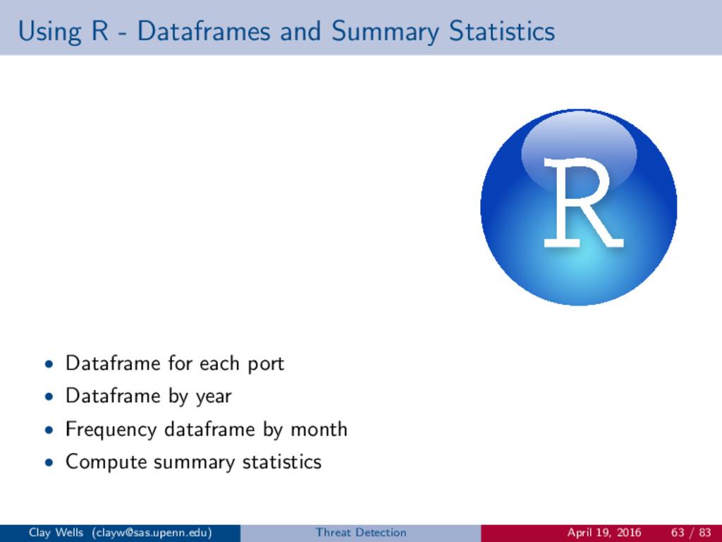 Using R - Dataframes and Summary Statistics • D...