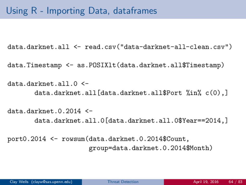 Using R - Importing Data, dataframes data.darkn...