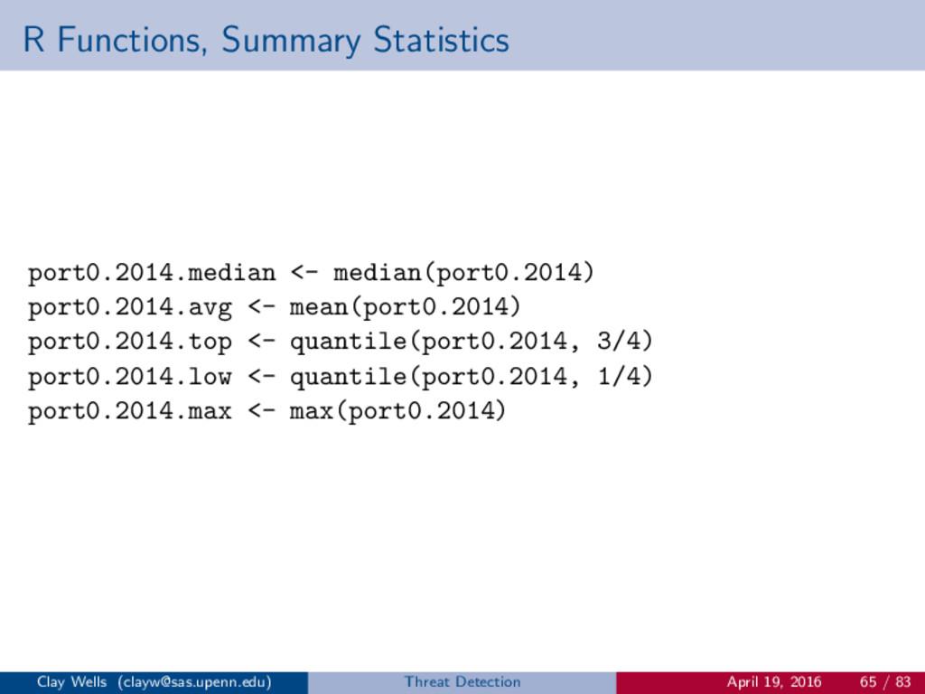 R Functions, Summary Statistics port0.2014.medi...