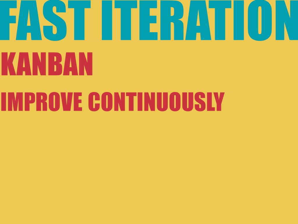 FAST ITERATION KANBAN IMPROVE CONTINUOUSLY