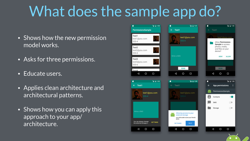 What does the sample app do? • Shows how the ne...
